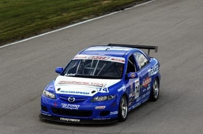 Jason Saini of Tri-Point Motorsports takes first place in a MAZDA6 with StopTech brakes at Autobahn Grand Prix 2009