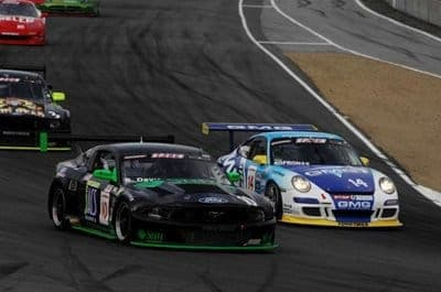 Sofronas makes his move on  during the 2009 SCCA SPEED GT World Challenge Season Finale at Laguna Seca.  He went on to win on StopTech Trophy Brakes and handed Porsche their 2nd Manufacturers' Championship in a row. (Weber Photo)